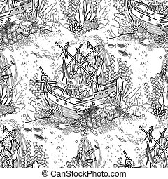 Ancient sunken ship and coral reef pattern