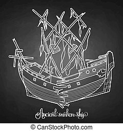 Ancient sunken ship. Graphic vector illustration isolated on...