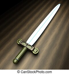 Ancient sword over wooden table, 3d render, square image