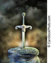 Ancient sword in a rock. Digital illustration