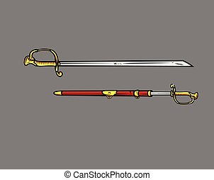 Ancient Sword Weapons Vector Illustration