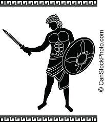 ancient swordsman. stencil