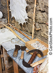 ancient tannery - medieval tannery, old tools for leather...