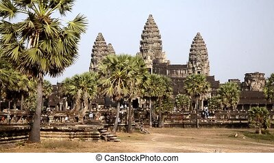 ancient temple, angkor wat, cambodi - Famous temple in...