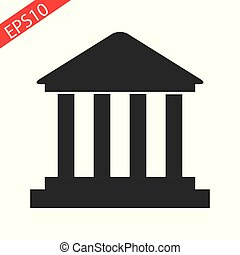 Ancient temple icon isolated on white background. Vector art.