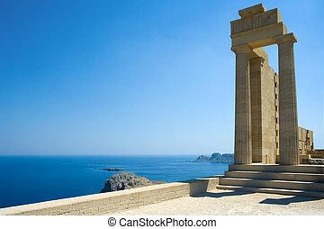 Partially rebuilt temple of Athena Lindia at the Acropolis of Lindos, Rhodes, Greece