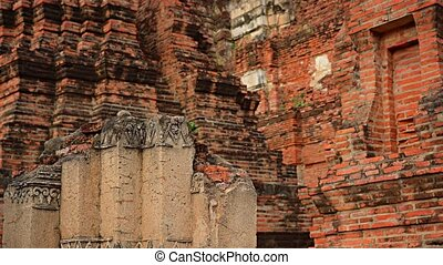 Ancient Temple Ruin in Ayutthaya, Thailand. - Remains of red...