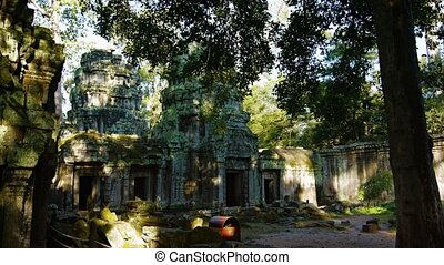 Moss and lichen covered ediface of the ancient, stone temple ruin of Ta Prohm near Siem Reap, Cambodia. UltraHD video