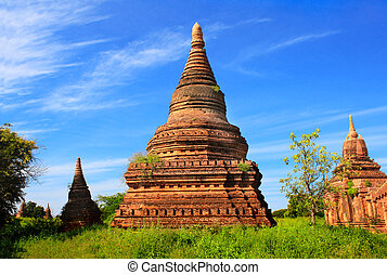 Ancient temples in the archaeological zone, Bagan, Myanmar