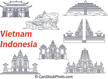 Ancient temples of Indonesia and Vietnam icons - Ancient...