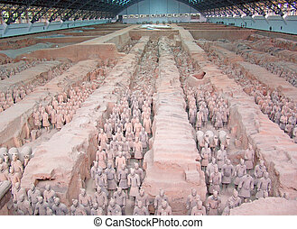 Ancient terra cotta warriors - Ancient clay figures in Xian...