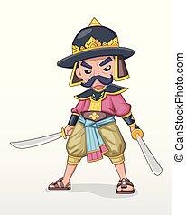 Ancient Thai beard warlord standing holding dual sword illustration