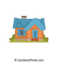Ancient timbered log cabin with blue roof vector Illustration