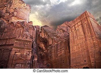 Ancient tombs - Famous ancient tombs in the Petra, Jordan