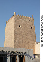 Ancient tower in Doha. Qatar, Middle East
