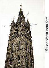 Ancient tower in the city of Ghent