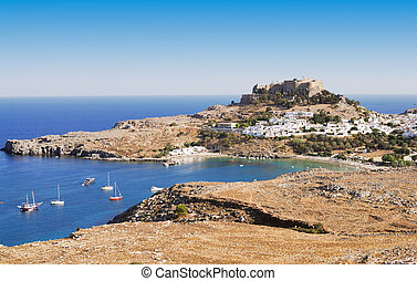 Ancient town Lindos, Rhodes island, Greece