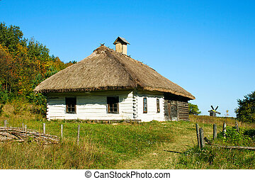 ukrainian rural cottage with a straw roof
