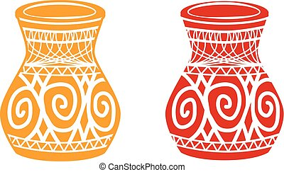 Ancient tribal pottery shop icon, vector