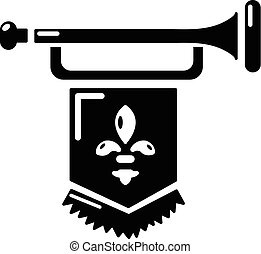 Ancient trumpet with flag icon, simple style - Ancient...