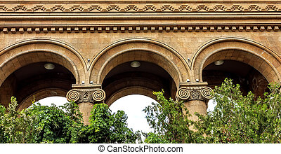 Ancient tuff arches in the park, Armenia.
