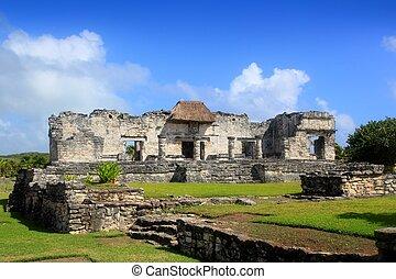 Ancient Tulum Mayan ruins Mexico Quintana Roo blue sky
