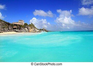 ancient Tulum Mayan ruins view from caribbean sea