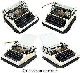 Ancient typewriters on a white