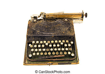 ancient used typewriter isolated on white