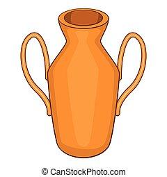 Ancient vase icon, cartoon style