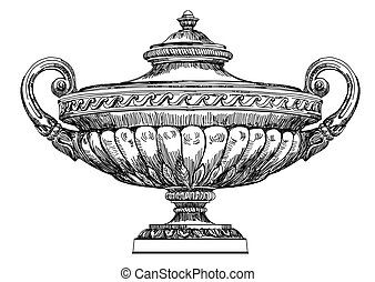 Ancient vase vector hand drawing illustration