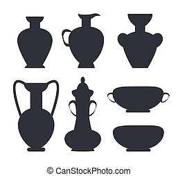 Ancient clay vases black silhouettes isolated vector illustrations on white background. Colorless antique vessels in flat style design