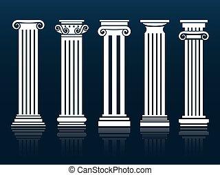 Ancient vector columns set