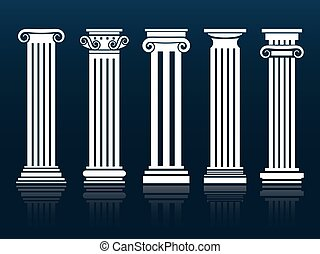 Ancient vector columns set