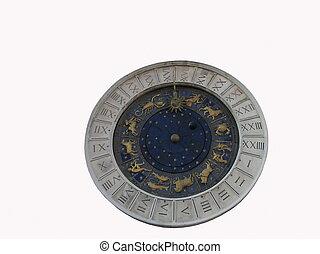 Ancient Venetian clock isolated
