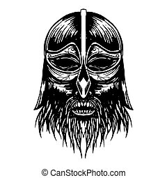 Ancient viking head illustration.