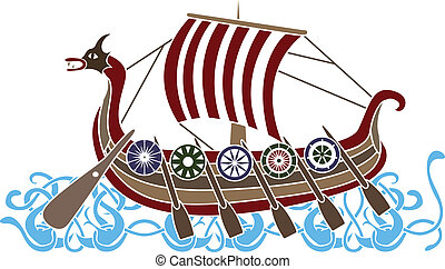 Ancient vikings ship with shields stencil colored variant