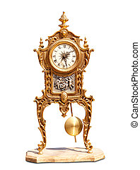 ancient vintage brass pendulum clock isolated on white