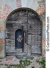 ancient vintage door of old castle