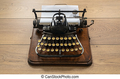 Ancient vintage portable typewriter with non qwerty keyboard
