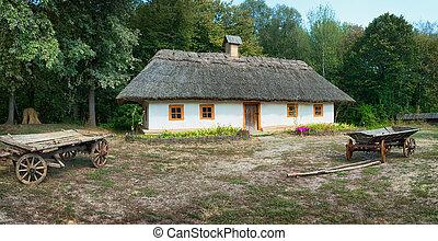 Ancient wagon near the house