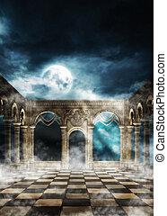 Ancient wall and full moon