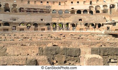 Ancient walls and sunlight. Roman Colosseum, hypogeum.