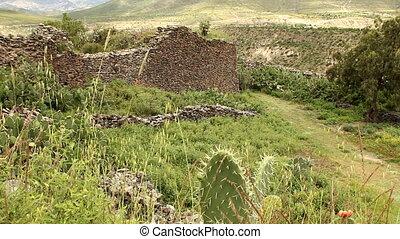 Ancient walls built by Wari people - Ancient walls built by...
