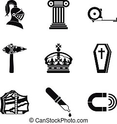 Ancient war icons set, simple style - Ancient war icons set....
