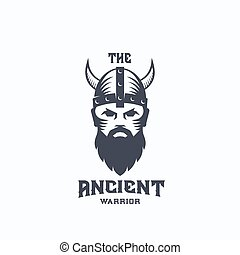 Ancient Warrior Abstract Vector Logo Template. Viking Symbol. Medieval Fighter in Horned Helmet. Bearded Soldier Face Icon with Retro Typography.