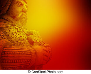 Beautiful abstract background of ancient warrior holding sword
