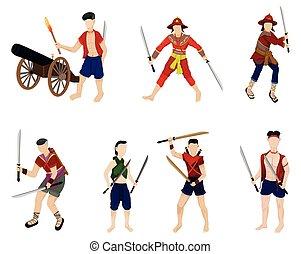 Ancient  warrior cartoon shape vector design