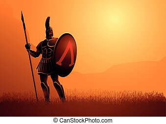 Ancient warrior with his shield and spear standing gallantly on grass field