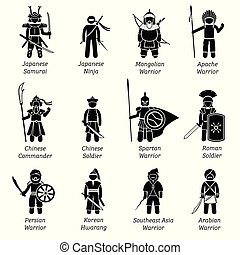 Ancient warriors around the world. - Illustrations depict ...